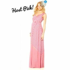 [Jessica Simpson] striped maternity maxi dress
